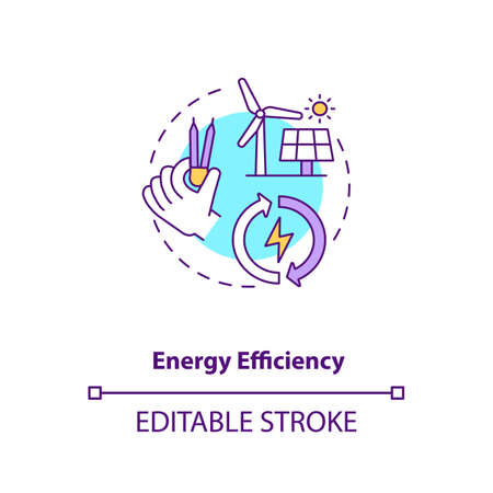 Energy efficiency concept icon. Sustainability in development. Reduce emission and cost. Civil engineering idea thin line illustration. Vector isolated outline RGB color drawing. Editable stroke