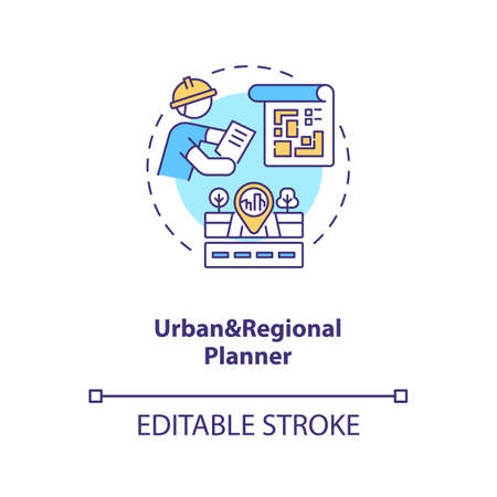 Urban and regional planner concept icon. City infrastructure construction. Civil engineering idea thin line illustration. Vector isolated outline RGB color drawing. Editable stroke Illustration