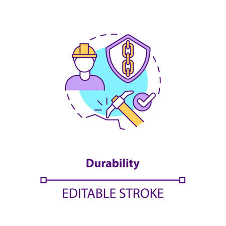 Durability concept icon. Concrete material. Resistance to weathering action and damage. Civil engineering idea thin line illustration. Vector isolated outline RGB color drawing. Editable stroke