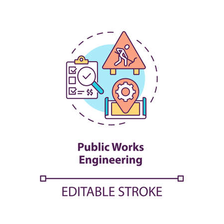 Public works engineering concept icon. Industrial construction management and supervision. Civil engineering idea thin line illustration. Vector isolated outline RGB color drawing. Editable stroke