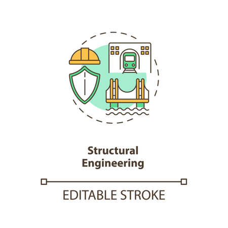 Structural engineering concept icon. Building support structure. Infrastructure construction. Civil engineering idea thin line illustration. Vector isolated outline RGB color drawing. Editable stroke