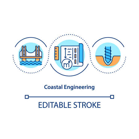 Coastal engineering concept icon. Coastal structures building and maintenance idea thin line illustration. Harbor and offshore engineering. Vector isolated outline RGB color drawing. Editable stroke
