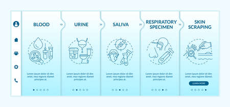 Laboratory samples onboarding vector template. Urinalysis testing. Oral and nasal swab. Blood test. Responsive mobile website with icons. Webpage walkthrough step screens. RGB color concept