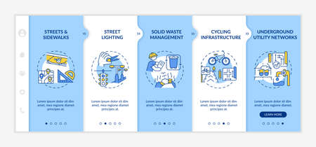 Urban construction onboarding vector template. Garbage recycle, infrastructure plan. Public illumination. Responsive mobile website with icons. Webpage walkthrough step screens. RGB color concept