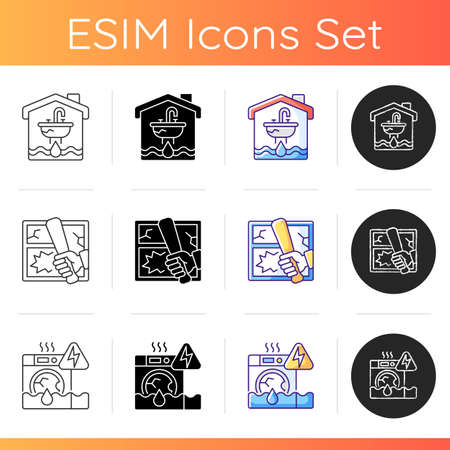 Unsafe home situations icons set. Flooding and water leak. Vandalism. Household appliances malfunction. Property crime. Water damage. Linear, black and RGB color styles. Isolated vector illustrations