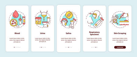 Lab samples onboarding mobile app page screen with concepts. Blood, urine, saliva, skin scraping walkthrough 5 steps graphic instructions. UI vector template with RGB color illustrations