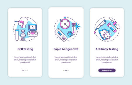 Covid testing types onboarding mobile app page screen with concepts. PCR testing, antibody testing walkthrough 3 steps graphic instructions. UI vector template with RGB color illustrations