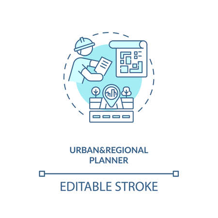 Urban and regional planner turquoise concept icon. City infrastructure construction. Civil engineering idea thin line illustration. Vector isolated outline RGB color drawing. Editable stroke Illustration