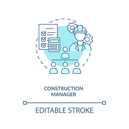 Construction manager turquoise concept icon. Supervisor work. Business project management. Civil engineering idea thin line illustration. Vector isolated outline RGB color drawing. Editable stroke