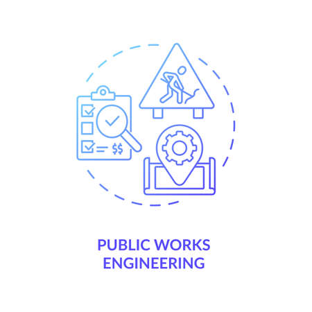 Public works engineering blue gradient concept icon. Industrial construction management and supervision. Civil engineering idea thin line illustration. Vector isolated outline RGB color drawing