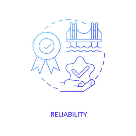 Reliability blue gradient concept icon. Construction safety. Building quality bridge. Repair, maintenance. Civil engineering idea thin line illustration. Vector isolated outline RGB color drawing Çizim