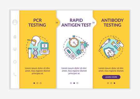 Coronavirus testing types onboarding vector template. Rapid antigen test. Checking for antibodies in blood. Responsive mobile website with icons. Webpage walkthrough step screens. RGB color concept Vektorové ilustrace
