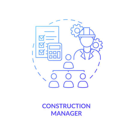 Construction manager blue gradient concept icon. Supervisor work. Business project management. Civil engineering idea thin line illustration. Vector isolated outline RGB color drawing