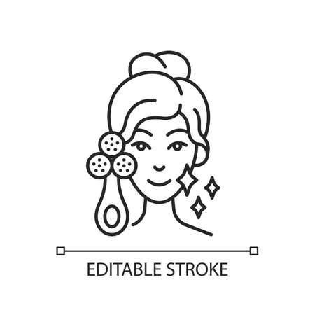 Facial cleansing device linear icon. Sculpting and facial toning tool. Relaxing tense muscles. Thin line customizable illustration. Contour symbol. Vector isolated outline drawing. Editable stroke