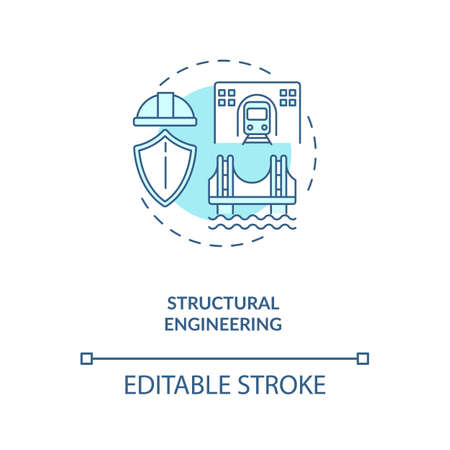 Structural engineering turquoise concept icon. Support structure. Infrastructure construction. Civil engineering idea thin line illustration. Vector isolated outline RGB color drawing. Editable stroke