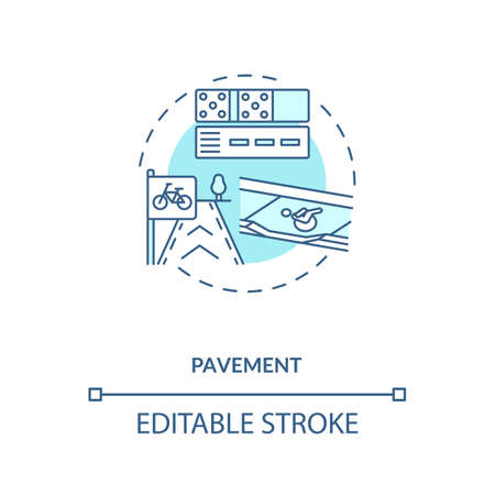 Pavement turquoise concept icon. Footpath construction. Asphalt layers. Building footway. Civil engineering idea thin line illustration. Vector isolated outline RGB color drawing. Editable stroke
