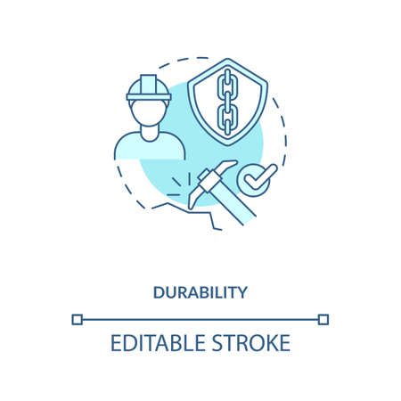 Durability turquoise concept icon. Concrete material. Resistance to weathering action, damage. Civil engineering idea thin line illustration. Vector isolated outline RGB color drawing. Editable stroke