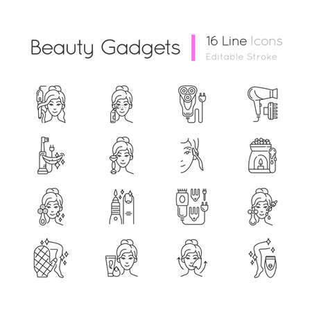 Beauty gadgets linear icons set. Hair tong. Electric shaver. Manicure and pedicure. Makeup sponge. Customizable thin line contour symbols. Isolated vector outline illustrations. Editable stroke