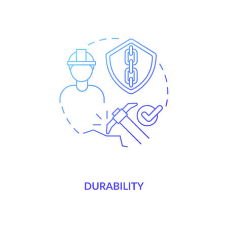 Durability blue gradient concept icon. Concrete material. Resistance to weathering action and damage. Civil engineering idea thin line illustration. Vector isolated outline RGB color drawing