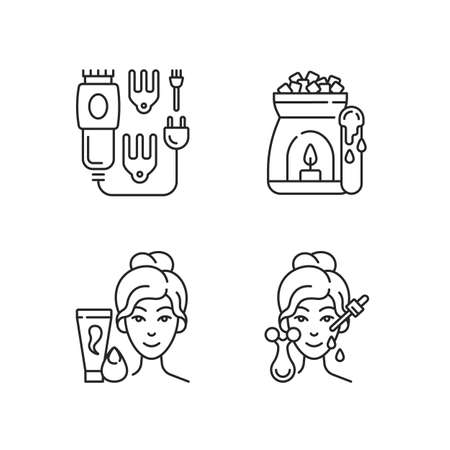 Beauty care appliances linear icons set. Electric hair clippers. Wax warmer. Makeup sponge. Hair trimmer. Customizable thin line contour symbols. Isolated vector outline illustrations. Editable stroke Illustration