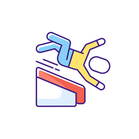 Falling from height RGB color icon. Fall risks. Home accidents. Slippery wet surfaces. Basement stairway. Fall-related injuries. Wobbly stairs. Outdoor steps. Isolated vector illustration