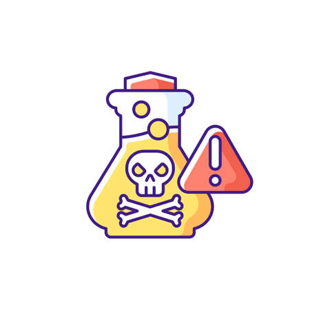 Chemical poisoning RGB color icon. Cleaning supplies. Toxic household products. Overdose on vitamins and medicines. Accidental poisonings at home. Lead paint hazards. Isolated vector illustration