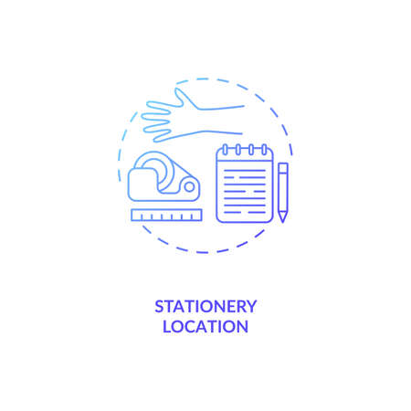 Stationery location concept icon. Office ergonomics tip idea thin line illustration. Working environment. Avoiding overreaching and unnecessary stretching. Vector isolated outline RGB color drawing
