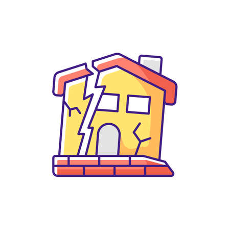 Dilapidated house RGB color icon. Abandoned buildings. Dangers in old houses. Health and safety hazards. Derelict buildings. Outdated materials. Poor foundations. Isolated vector illustration