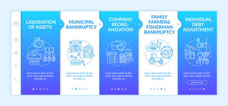 Business bankruptcy onboarding vector template. Municipal financial crisis. Individual debt adjustment. Responsive mobile website with icons. Webpage walkthrough step screens. RGB color concept Çizim