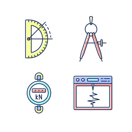 Measurement tools RGB color icons set. Half circle protractor. Compass tool. Dynamometer. Seismograph. Architectural and mechanical drawing. Drawing tool. Isolated vector illustrations