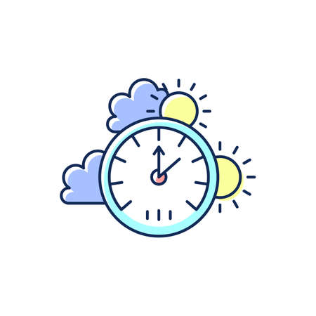 Barometer RGB color icon. Measuring air pressure in certain environment. Meteorological instrument. Atmospheric pressure and altitude. Distance above and below sea level. Isolated vector illustration 矢量图像