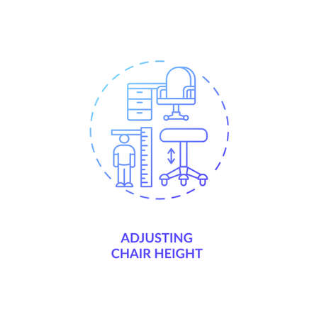Adjusting chair height concept icon. Office ergonomics tip idea thin line illustration. Comfortable seating position. Correct seated posture. Vector isolated outline RGB color drawing