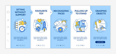 Early childhood development stages onboarding vector template. Little kid grow up. Physical ability. Responsive mobile website with icons. Webpage walkthrough step screens. RGB color concept Vector Illustration