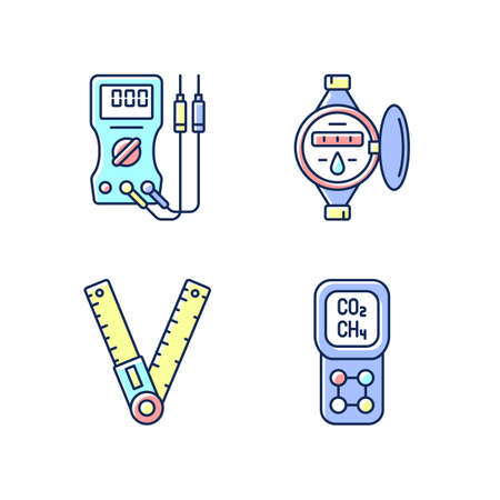 Measurement tools RGB color icons set. Ammeter. Water meter. Ruler, angle finder. Gas detector. Voltmeter, ohmmeter. Measuring liquid volume. Geometry, technical drawing. Isolated vector illustrations