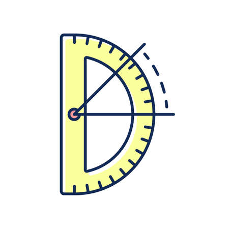 Half circle protractor RGB color icon. Measuring and constructing plane angles in radians. Architectural and mechanical drawing. Engineering-related applications. Isolated vector illustration