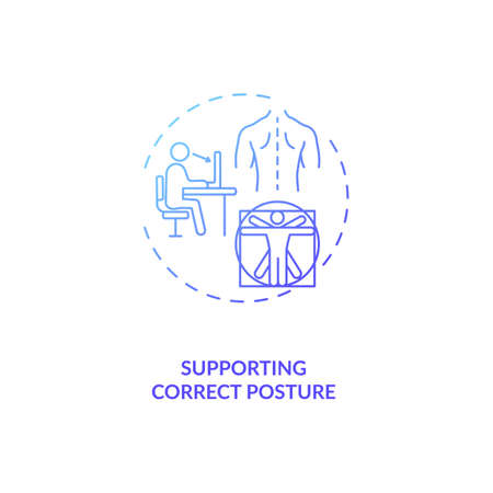 Supporting correct posture concept icon. Ergonomic design benefit idea thin line illustration. Correct sitting position. Upper back, neck, shoulder support. Vector isolated outline RGB color drawing