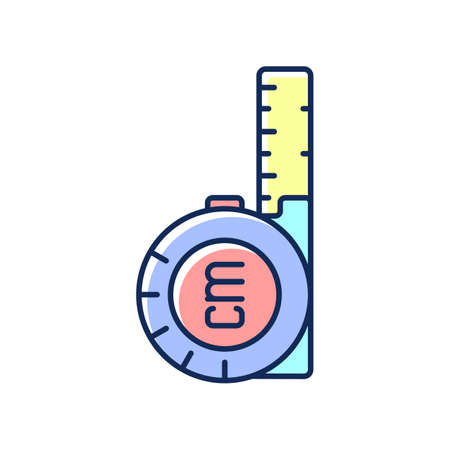 Retractable flexible rule RGB color icon. Tape measure. Metal strip with linear-measurement markings. Measuring size, distance. Carpentry, housing construction, building. Isolated vector illustration Ilustracja