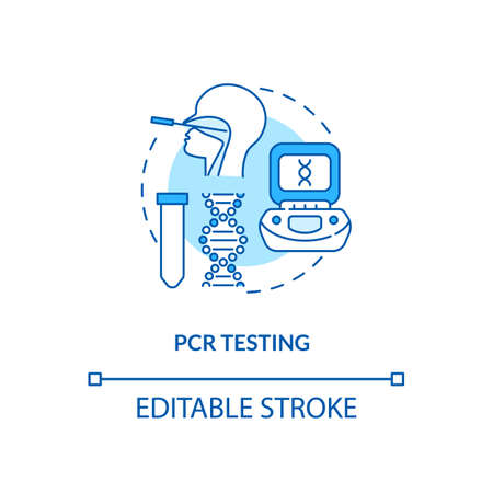 PCR testing concept icon. Covid testing type idea thin line illustration. Infectious agents identification. Specific DNA sample. Vector isolated outline RGB color drawing. Editable stroke