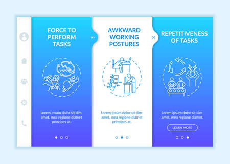 Workplace safety stressors onboarding vector template. Awkward working postures. Tasks repetitiveness. Responsive mobile website with icons. Webpage walkthrough step screens. RGB color concept