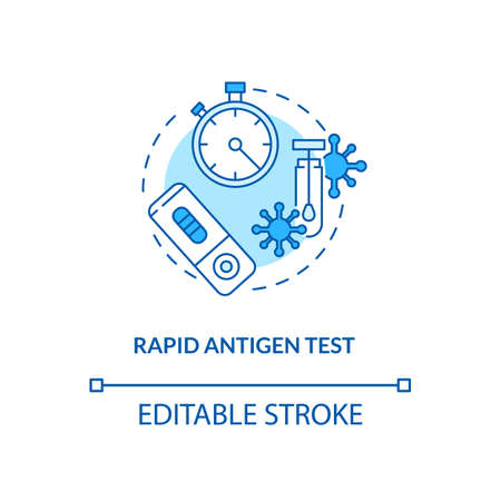 Rapid antigen test concept icon. Covid testing type idea thin line illustration. Nasopharyngeal swab test. Protein fragments detection. Vector isolated outline RGB color drawing. Editable stroke  イラスト・ベクター素材