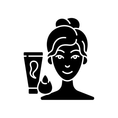 Makeup sponge black glyph icon. Foundation, concealer, beauty balms applying. Teardrop-shaped sponge. Achieving sheer makeup application. Silhouette symbol on white space. Vector isolated illustration