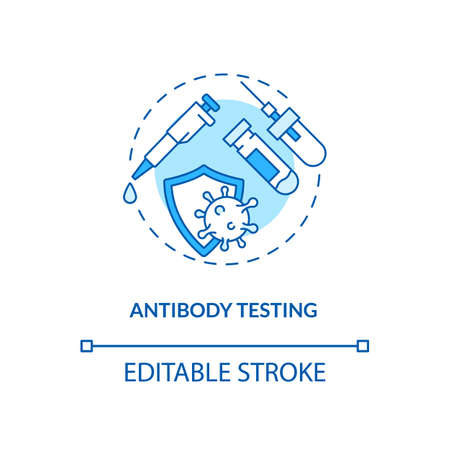Antibody testing concept icon. Covid testing type idea thin line illustration. Developing long-lasting immunity. Immune response to virus. Vector isolated outline RGB color drawing. Editable stroke
