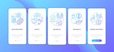 Safety in civil engineering dark blue onboarding mobile app page screen with concepts. Construction security walkthrough 5 steps graphic instructions. UI vector template with RGB color illustrations