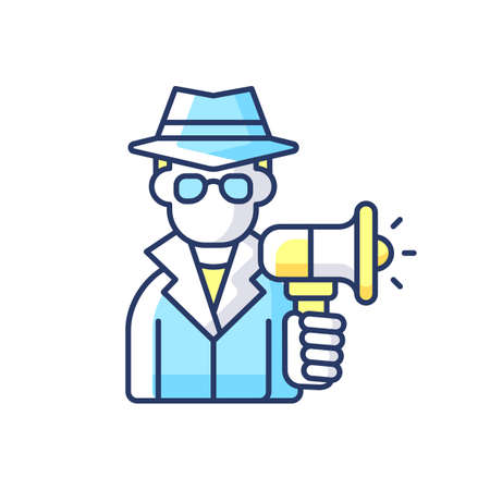 Undercover marketing RGB color icon. Introducing company product to consumers in way that does not seem like advertising. Isolated vector illustration