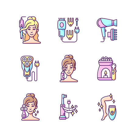 Skincare routine RGB color icons set. Hairstyling appliance. Electric hair clippers. Blackhead remover. Electric shaver. Makeup sponge. Hair dryer. Wax warmer. Epilator. Isolated vector illustrations