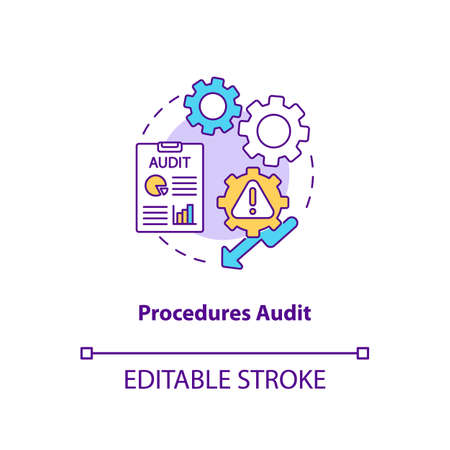 Procedures audit concept icon. Warehouse audit elements. Check if transactions have been recorded. Business idea thin line illustration. Vector isolated outline RGB color drawing. Editable stroke Ilustração