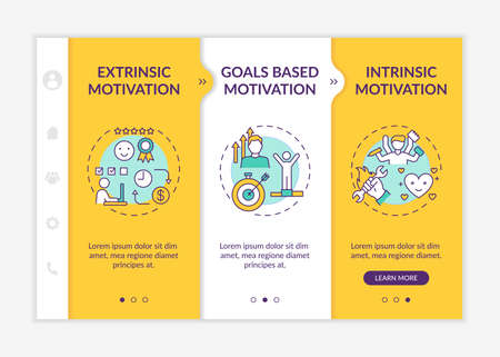 Motivation variety onboarding vector template. Extrinsic encouragement. Intrinsic stimulation. Responsive mobile website with icons. Webpage walkthrough step screens. RGB color concept
