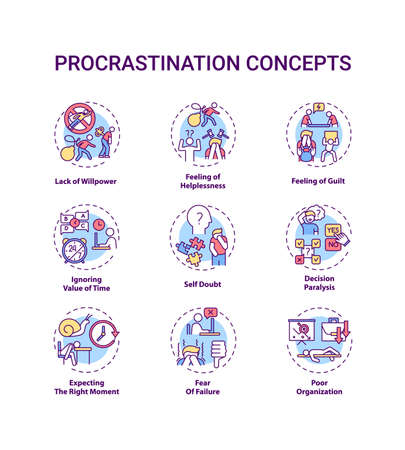 Procrastination concept icons set. Poor organization idea thin line RGB color illustrations. Willpower lacking. Self doubt. Decision paralysis. Vector isolated outline drawings. Editable stroke