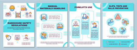 Warehouse regulation brochure template. Slips, trips, falls precaution. Flyer, booklet, leaflet print, cover design with linear icons. Vector layouts for magazines, annual reports, advertising posters