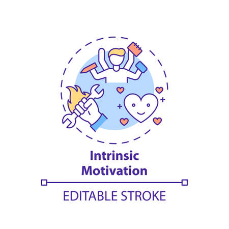 Intrinsic motivation concept icon. Motivation type idea thin line illustration. Doing tasks without external rewards. Enhancing engagement. Vector isolated outline RGB color drawing. Editable stroke